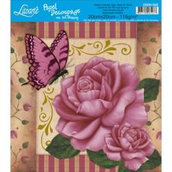 Papel para Decoupage Quadrado com Hot Stamping D20H-022 Rosa e Borboleta