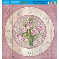 Papel para relógio com Hot Stamping DRH1-002 Tulipa Rosa