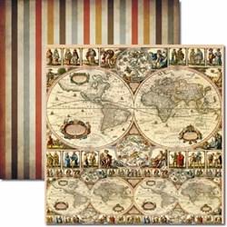 Papel para Scrap Dupla Face Arte Fácil SC-112 Mapa Mundi