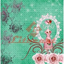 Papel para Scrapbook com Glitter Litocart LSCG-01 Manequim e Rosas