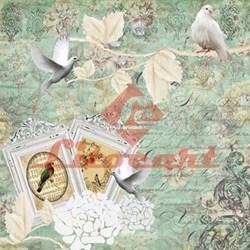 Papel para Scrapbook com Glitter Litocart LSCG-05 Pássaros e Flores