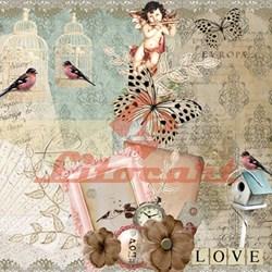 Papel para Scrapbook com Glitter Litocart LSCG-07 Love Vintage