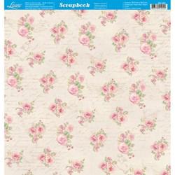 *Papel para Scrapbook Dupla Face Litoarte SD-493 Rosas
