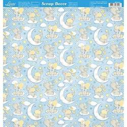 *Papel para Scrapbook Dupla Face Litoarte SD-814 Elefantinho Azul