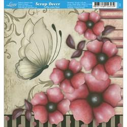 Papel Scrap Simples 15x15cm SDSXV-009 Borboleta e Flores