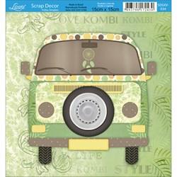 Papel Scrap Simples 15x15cm SDSXV-034 Kombi Verde