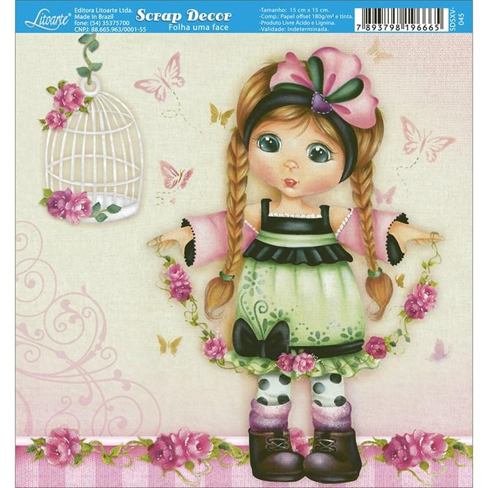 Papel Scrap Simples 15x15cm SDSXV-045 Girl Flower