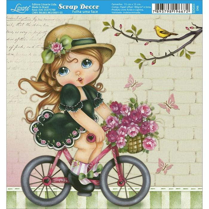 Papel Scrap Simples 15x15cm SDSXV-046 Garota na Bicicleta