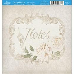 Papel Scrap Simples 15x15cm SDSXV-057 Flores Vintage + Sombrinha