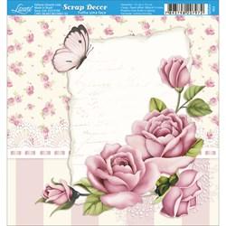 Papel Scrap Simples 15x15cm SDSXV-062 Rosas Shabby Chic e Borboleta