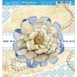Papel Scrap Simples 15x15cm SDSXV-063 Flor Branca Fundo Bege e Azul