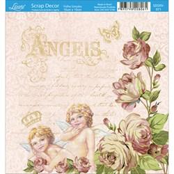 Papel Scrap Simples 15x15cm SDSXV-071 Flores e Anjos