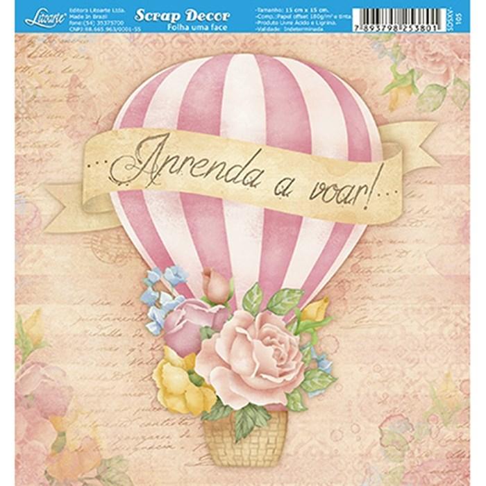 Papel Scrap Simples 15x15cm SDSXV-105 Balão com Flores