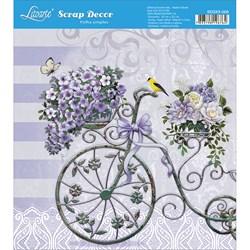 Papel Scrap Simples 20x20cm SDSXX-003 Bicicleta com Cesta de Flores