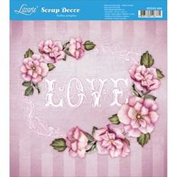 Papel Scrap Simples 20x20cm SDSXX-004 Love Rosas