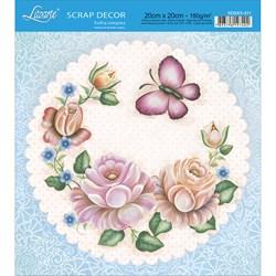 Papel Scrap Simples 20x20cm SDSXX-011 Flores e Borboleta