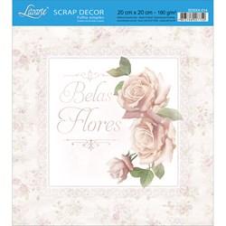 Papel Scrap Simples 20x20cm SDSXX-014 Rosas Shabby Chic Belas Flores