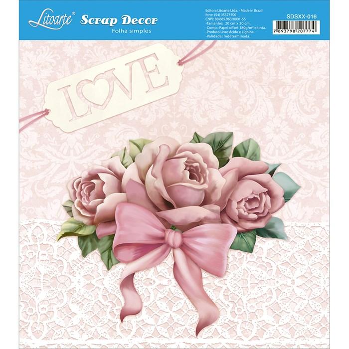 Papel Scrap Simples 20x20cm SDSXX-016 Rosas Shabby Chic