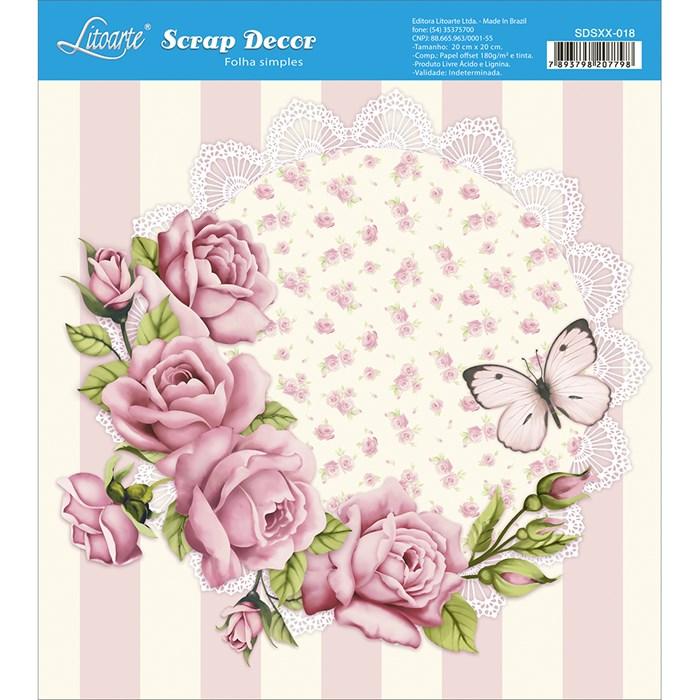 Papel Scrap Simples 20x20cm SDSXX-018 Rosa Shabby Chic e Borboleta