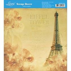 Papel Scrap Simples 20x20cm SDSXX-036 Torre Eiffel e Flores