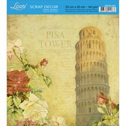 Papel Scrap Simples 20x20cm SDSXX-037 Torre de Pisa e Flores Vermelhas