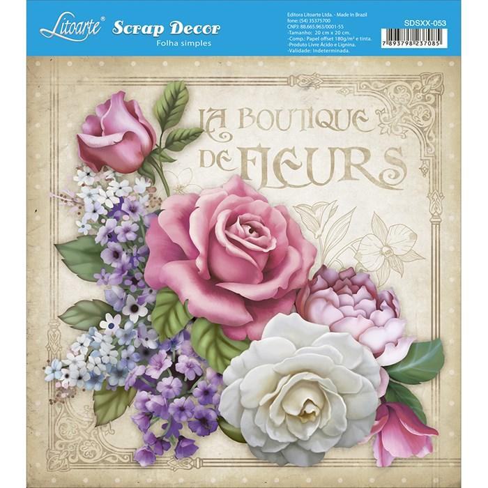 Papel Scrap Simples 20x20cm SDSXX-053 Flores La Boutique de Fleurs
