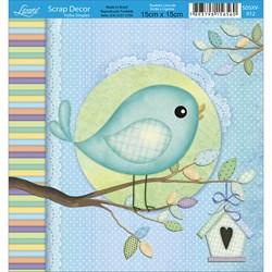 Papel Scrap Simples  SDSXV-012 Pássaro Azul