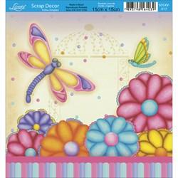 Papel Scrap Simples  SDSXV-017 Libelula e Flores
