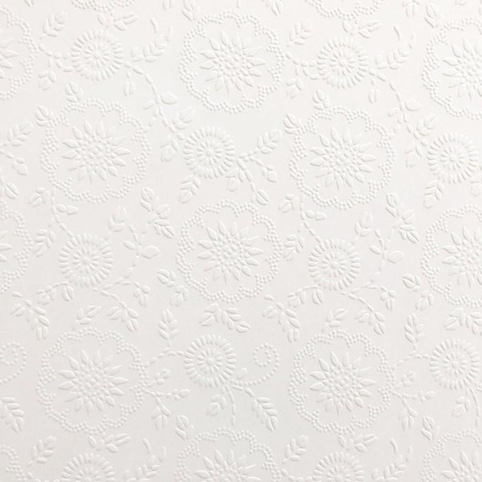 Papel Textura Branco 30x60cm PTB-24 Flores e Arabescos