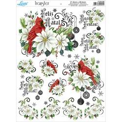 Papel Transfer Litoarte Natal PTGN-009 Pássaro e Flores