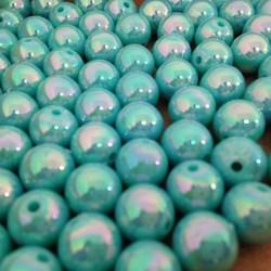 Pérola 8mm Azul Turquesa Irizado (PI046) - Embalagem com 50grs