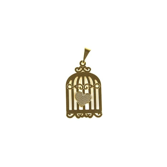 Pingente Banhado PBO-016 Gaiola Coração