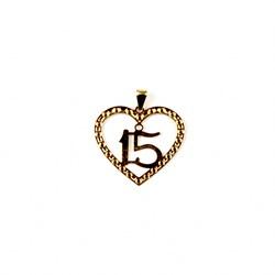 Pingente Banhado PBO-036 Coração 15 Anos