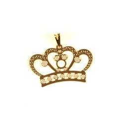 Pingente Coroa Princess ESFC348  - Dourado