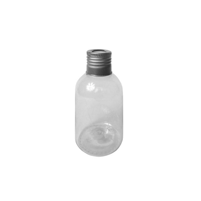 Pote Plástico para Aromatizador 100mL 006374 Tampa Metal Prata