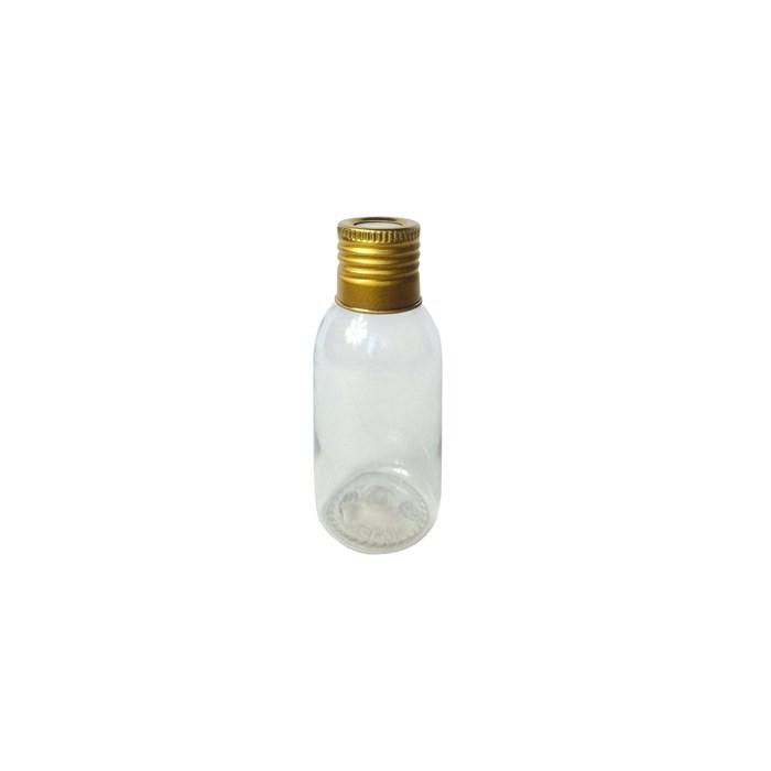 Pote Plástico para Aromatizador 60mL 019705 Tampa Metal Dourada