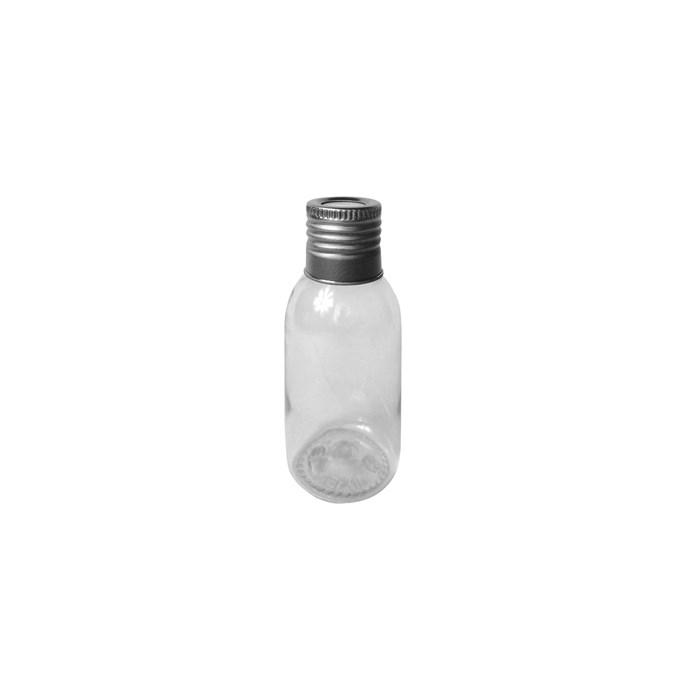 Pote Plástico para Aromatizador 60mL 019705 Tampa Metal Prata