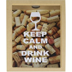 Quadro Cofre com Vidro 30x22x7cm MDF-46 KEEP CALM AND DRINK WINE