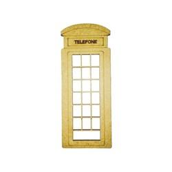 Recorte a Laser em MDF 15x6cm RM-129 Telefone London - com 1 unidade