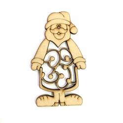 Recorte aLaser em MDF 8,5x5cm RM-045 Papai Noel - com 1 unidade