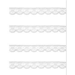 Renda de Nylon 10mm C01 Branco - Embalagem com 1 metro