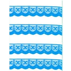 Renda de Nylon 20mm C21 Azul Turquesa - Embalagem com 1 metro