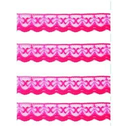 Renda de Nylon 20mm C41 Rosa Flúor - Embalagem com 1 metro
