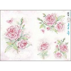 Slim Paper para Decoupage SPL-001 Rosas Aquarela e Borboleta