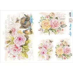 Slim Paper para Decoupage SPL-002 Flores Aquarela e Ninho de Pássarinho