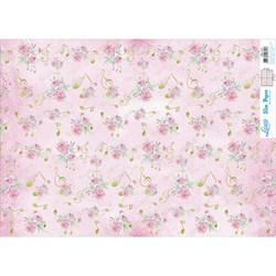 Slim Paper para Decoupage SPL-014 Rosas e Notas Musicais