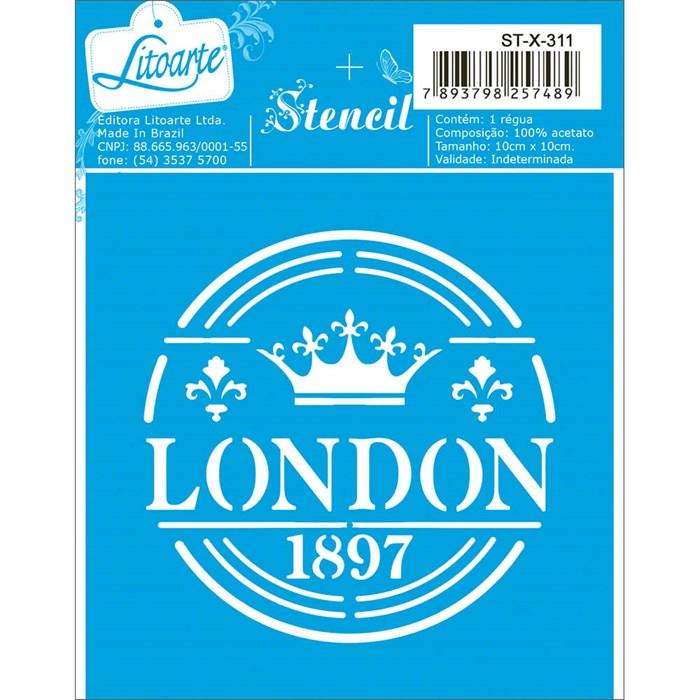 Stencil Litoarte 10x10cm ST-X-311 London 1897