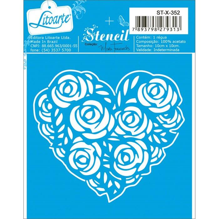 Stencil Litoarte 10x10cm ST-X-352 Coração Floral
