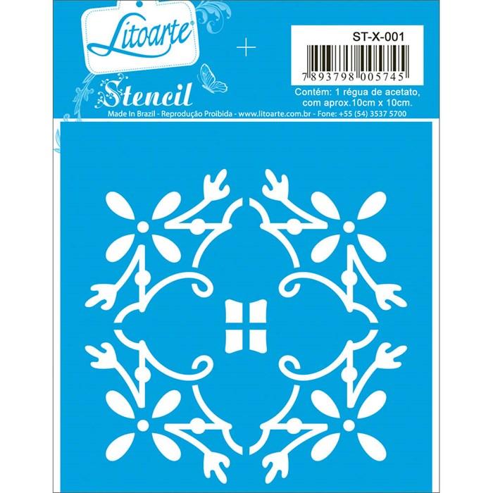Stencil Litoarte 10x10cm STX-001 Azulejo