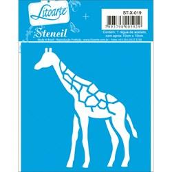 Stencil Litoarte 10x10cm STX-019 Girafa